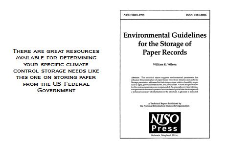 Guides are available to determine proper climate control for paper in Pittsburgh storage